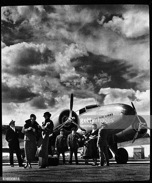Passenger at aviation field at Newark New Jersey Undated photograph Gendreau collection