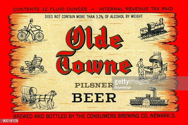 Newark Ohio was home to the Consumers Brewing Co makers of Old Towne Pilsner This preWorld War II label features a unusual pictorial tribute to modes...