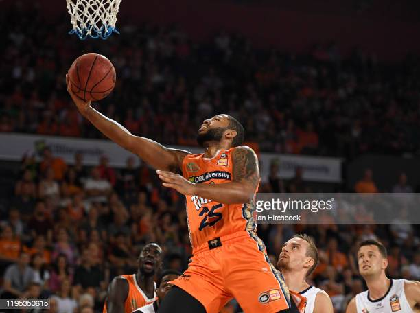 Newbill of the Taipans attempts a lay up during the round 12 NBL match between the Cairns Taipans and the Adelaide 36ers at the Cairns Convention...