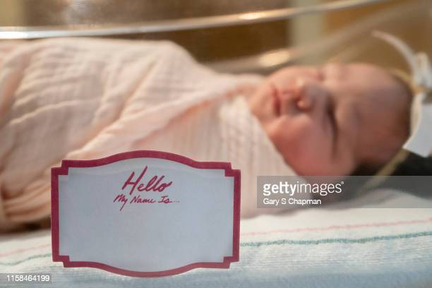 newborn baby girl with tag my name is - identity stock pictures, royalty-free photos & images
