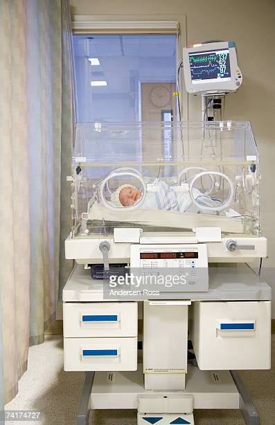 Newborn baby lying in Incubator