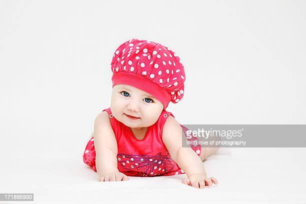 Newborn Baby Margareth as a strawberry