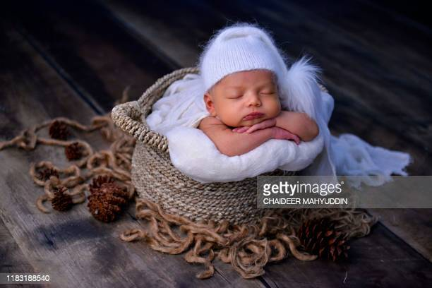 Newborn baby poses during a photo session in Banda Aceh on November 18, 2019. / RESTRICTED TO EDITORIAL USE