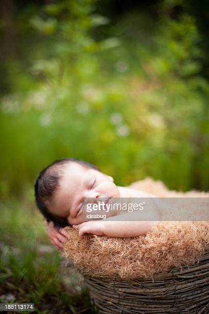 Newborn Baby Sleeping Peacefully Outdoors, in Basket, With Copy Space