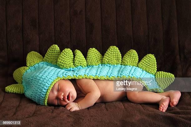 Newborn baby wearing a dinosaur costume