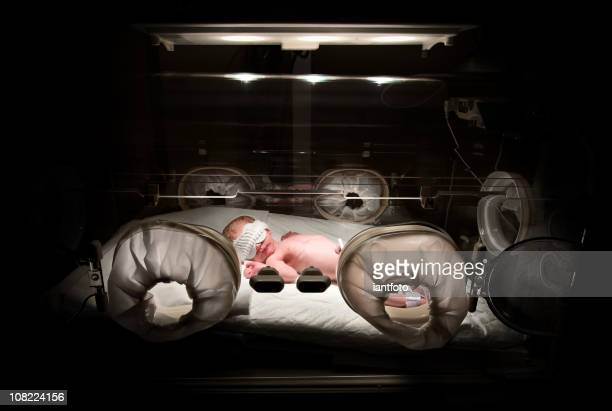 Newborn in incubator, low key