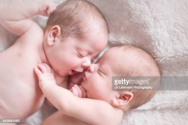 newborn twin babies sleep together - cute twins stock photos and pictures