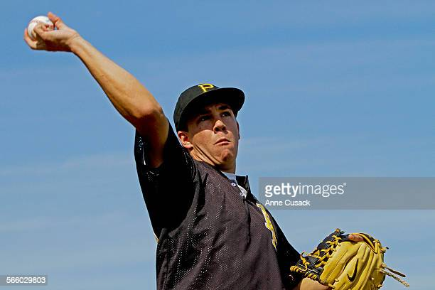 Newbury Park High School pitcher Luke Eubank throws pitches during practices at Newbury Park High School on April 9 2012 The senior is 5–0 and has...
