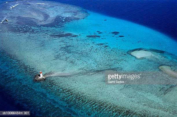 New-Caledonia, Noumea, Lighthouse at Noumea lagoon, aerial view