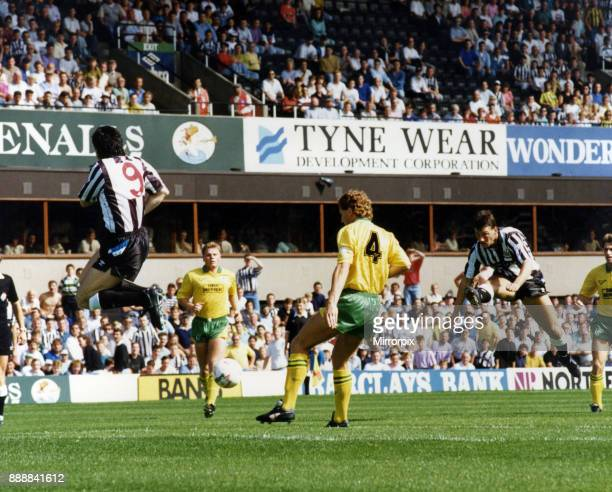 Newcastle 20 Plymouth Division Two league match at St James Park Saturday 25th August 1990 Our Picture Shows Mick Quinn leaps out of the way as Bjorn...