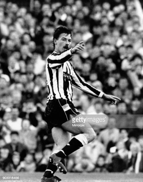 Newcastle 30 Stoke Division Two match at St James Park Monday 16th April 1990 Bjorn Kristensen celebrates after scoring his second and Newcastle's...