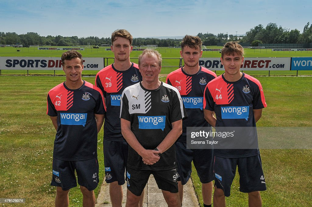 Newcastle Academy Graduates (L-R) Jamie Sterry, Tom Heardman, Macaulay Gillesphey, and Liam Smith pose for photographs with Newcastle Head Coach Steve McClaren after signing their first professional contracts at The Newcastle United Training Centre on July 1, 2015, in Newcastle upon Tyne, England.