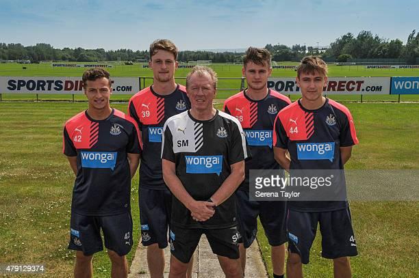 Newcastle Academy Graduates Jamie Sterry, Tom Heardman, Macaulay Gillesphey, and Liam Smith pose for photographs with Newcastle Head Coach Steve...