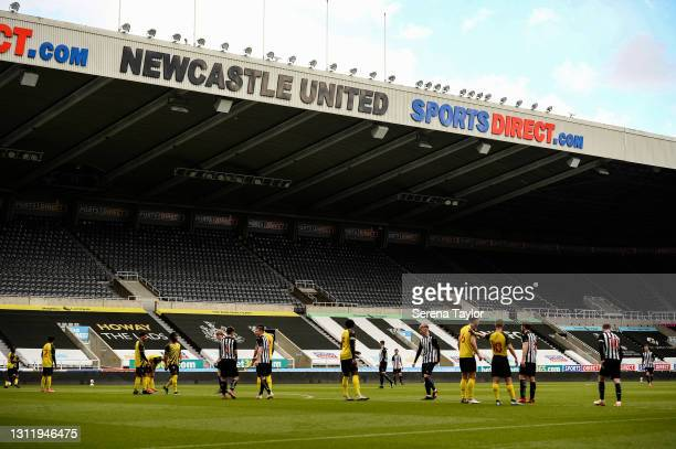 Newcastle and Watford players line up in the box for a free kick during the fifth round of the FA Youth Cup between Newcastle United and Watford FC...