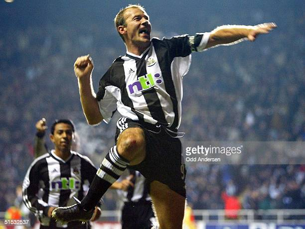 Newcastle captain Alan Shearer celebrates his penalty goal against Dynamo Kiev at a UEFA Champions league match at St James's Park stadium in...