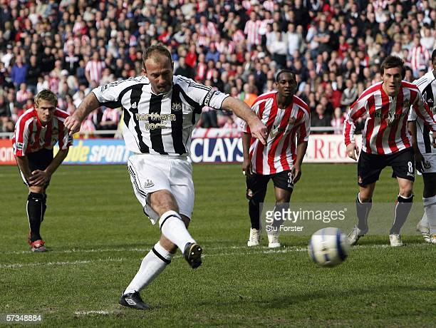 Newcastle captain Alan Shearer scores the second goal during the Barclays Premiership match between Sunderland and Newcastle United at The Stadium of...