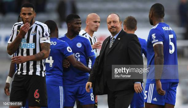 Newcastle captain Jamaal Lascelles and Rafa Benitez react after the Premier League match between Newcastle United and Leicester City at St James Park...
