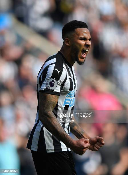 Newcastle captain Jamaal Lascelles celebrates victory during the Premier League match between Newcastle United and Arsenal at St James Park on April...