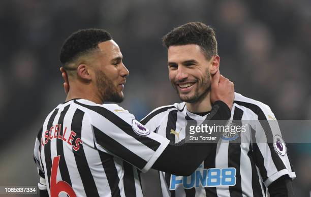 Newcastle captain Jamaal Lascelles congratulates two goal her Fabian Schar after the Premier League match between Newcastle United and Cardiff City...