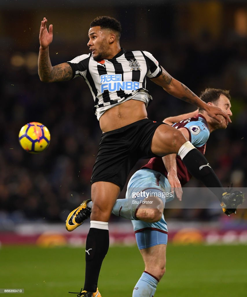 Newcastle captain Jamaal Laschelles in action during the Premier League match between Burnley and Newcastle United at Turf Moor on October 30, 2017 in Burnley, England.