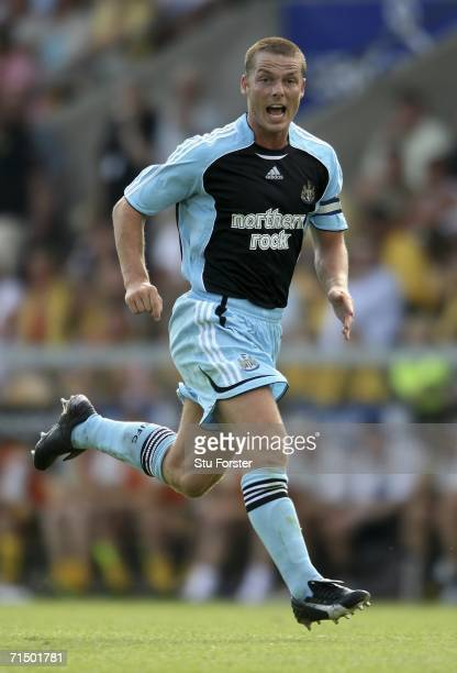 Newcastle captain Scott Parker makes a forward run during the second leg of the Intertoto Cup between Lillestrom SK and Newcastle United at The...