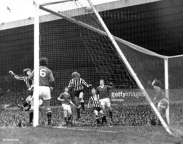 Newcastle centre half Pat Howard joins strikers Malcolm Macdonald and John Tudor in Manchester United Goalmouth at Old Trafford Newcastle 0 1 Man Utd...