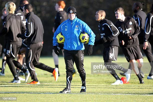 Newcastle coach Steve Stone during a Newcastle United training session at the Little Benton Training Ground on January 20, 2011 in Newcastle upon...