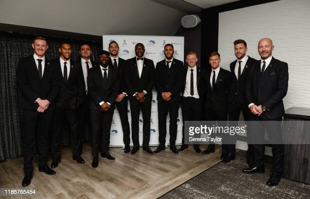 Newcastle current players and Ex players seen L-R Sean Longstaff, Isaac Hayden, Steve Harper, Jetro Willems , Andy Carroll, Shola Ameobi, Jamaal...
