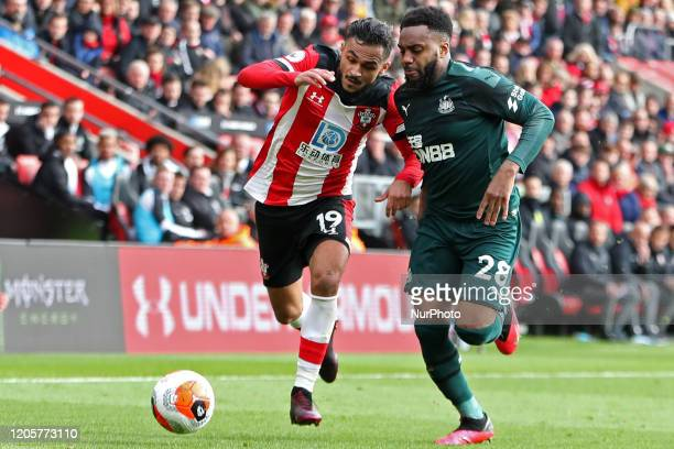 Newcastle defender Danny Rose battles with Southampton midfielder Sofiane Boufal during the Premier League match between Southampton and Newcastle...