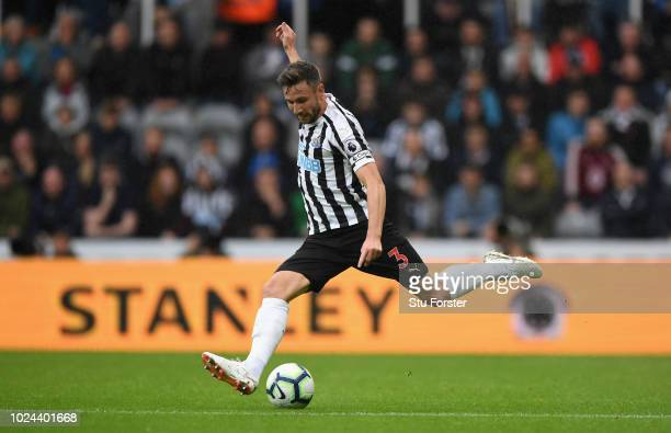 Newcastle defender Paul Dummett in action during the Premier League match between Newcastle United and Chelsea FC at St James Park on August 26 2018...