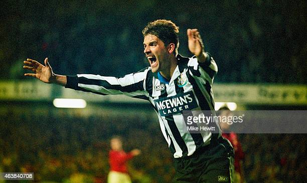 Newcastle defender Phillipe Albert celebrates after scoring in the Coca Cola Cup match between Newcastle United and Manchester United at St James'...