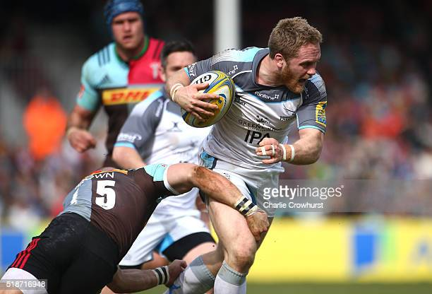 Newcastle Falcon's Alex Tait attacks the Quins defence during the Aviva Premiership match between Harlequins and Newcastle Falcons at The Twickenham...