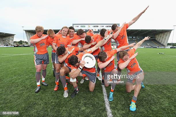 Newcastle Falcons celebrate winning the round after the Singha Premiership Rugby 7s Series match between Leicester Tigers and Newcastle Falcons at...