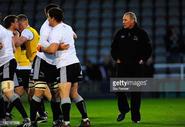 Newcastle Falcons coach Gary Gold looks on before the Aviva Premiership match between Newcastle Falcons and Sale Sharks at Kingston Park on March 30...