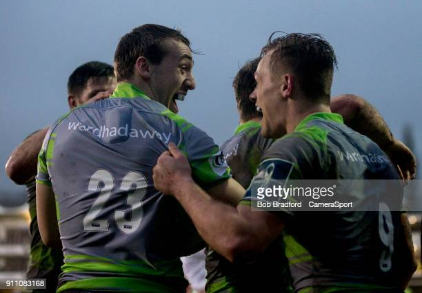 Newcastle Falcons' Craig Willis and Newcastle Falcons' Sam Stuart celebrates scoring his side's first try during the Anglo Welsh Cup Round Three...