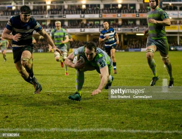 Newcastle Falcons' Craig Willis scores his side's first try during the Anglo Welsh Cup Round Three match between Bath Rugby and Newcastle Falcons at...