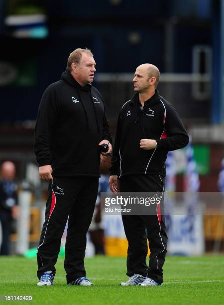 Newcastle Falcons director of Rugby Dean Richards chats with head coach Peter Russell before the RFU Championship game between Bristol and Newcastle...
