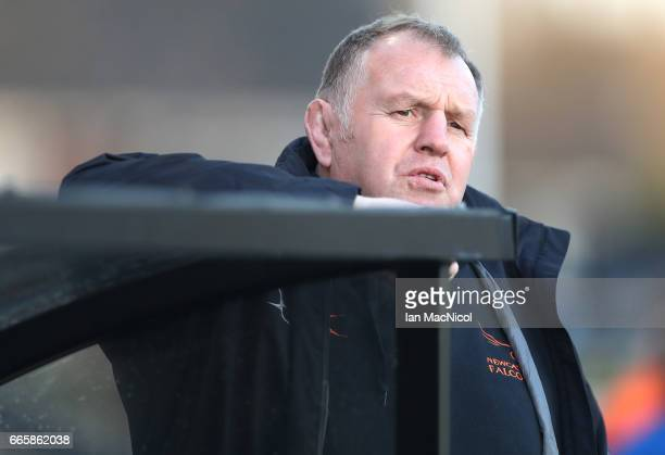 Newcastle Falcon's director of Rugby Dean Richards is seen during the Aviva Premiership match between Newcastle Falcons and Gloucester Rugby at...