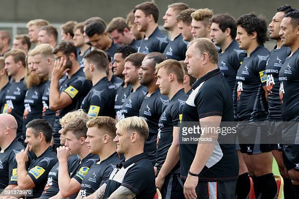 Newcastle Falcons director of rugby Dean Richards stands in line with his players during the Newcastle Falcons squad photocall for the 20162017 Aviva...