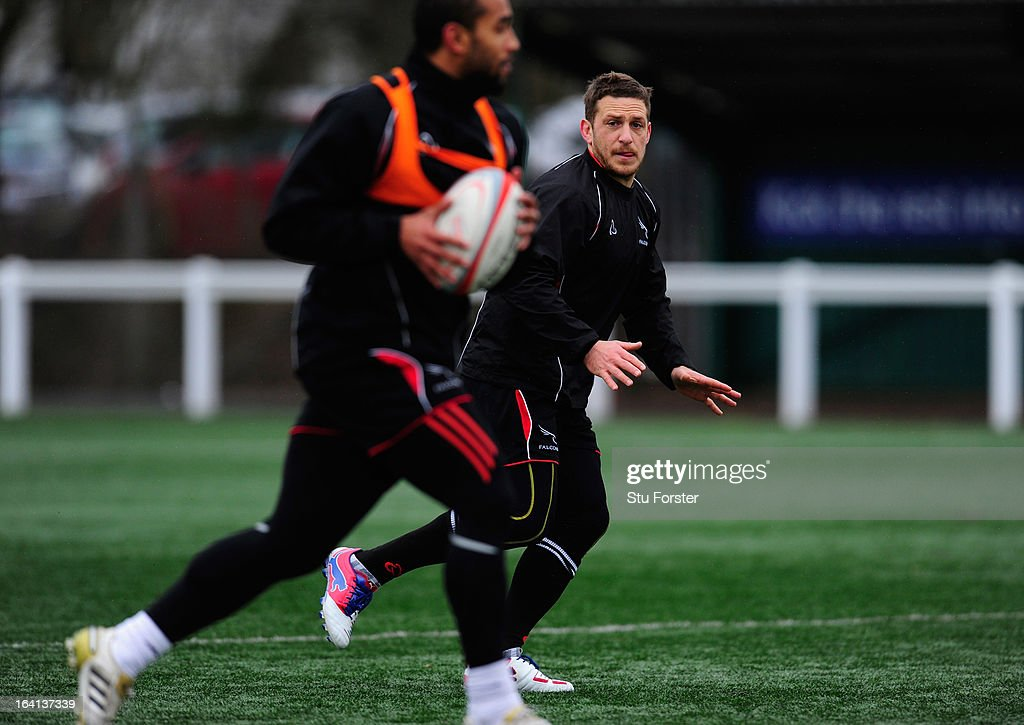Newcastle Falcons fly half Jimmy Gopperth in action during Falcons training at Druid Park on March 20, 2013 in Newcastle upon Tyne, England.