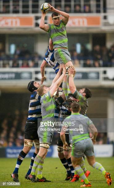 BATH ENGLAND JANUARY Newcastle Falcons' Glen Young claims a line out during the Anglo Welsh Cup Round Three match between Bath Rugby and Newcastle...