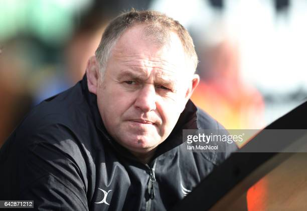 Newcastle Falcons head Coach Dean Richards is seen during the Aviva Premiership match between Newcastle Falcons and Northampton Saints at Kingston...