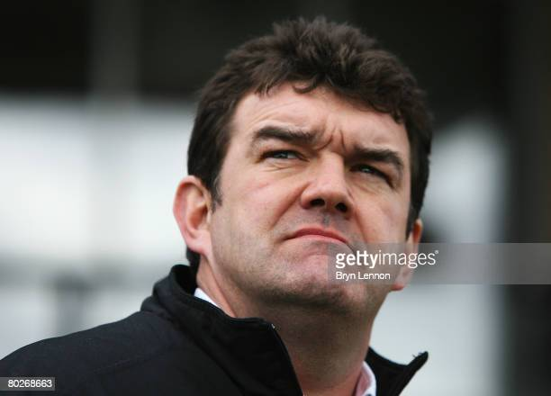 Newcastle Falcons Interim Director of Rugby Steve Bates watches his team warm-up prior to the Guinness Premiership match between Newcastle Falcons...