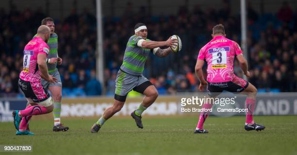 Newcastle Falcons' Joel Matavesi in action during todays match during the Anglo Welsh Cup Semi Final match between Exeter Chiefs and Newcastle...