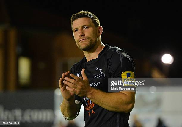 Newcastle Falcons man of the match Mark Wilson applauds the crowds support at the final whistle during the Aviva Premiership match between Newcastle...