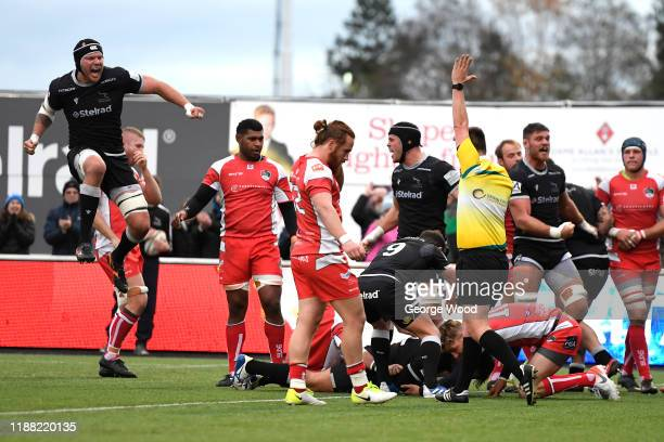 Newcastle Falcons players celebrates after scoring their second try of the match during the Greene King IPA Championship match between Newcastle...