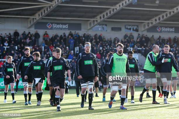 Newcastle Falcons players prior to the Greene King IPA Championship match between Newcastle Falcons and Cornish Pirates at Kingston Park Newcastle on...