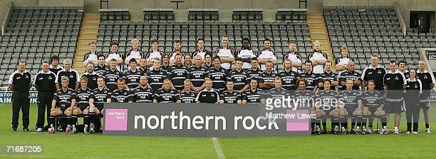 Newcastle Falcons pose for a team photo during the Barclays Premiership match between Newcastle United and Wigan Athletic at St.James Park on August...