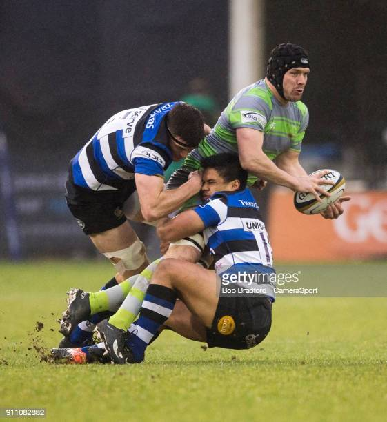 Newcastle Falcons' Ryan Burrows is tackled by Bath Rugby's Ben Tapuai during the Anglo Welsh Cup Round Three match between Bath Rugby and Newcastle...