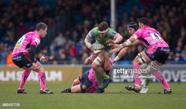 EXETER ENGLAND MARCH Newcastle Falcons' Sean Robinson in action during todays match during the Anglo Welsh Cup Semi Final match between Exeter Chiefs...